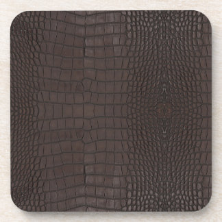 Alligator Brown Leather Print Coaster