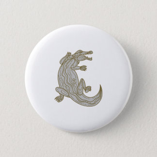 Alligator Climbing Up Mono Line 2 Inch Round Button
