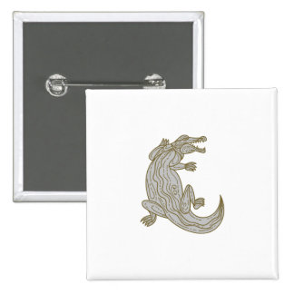 Alligator Climbing Up Mono Line 2 Inch Square Button