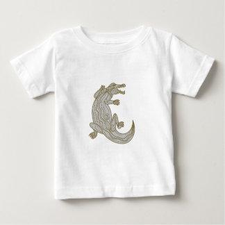 Alligator Climbing Up Mono Line Baby T-Shirt