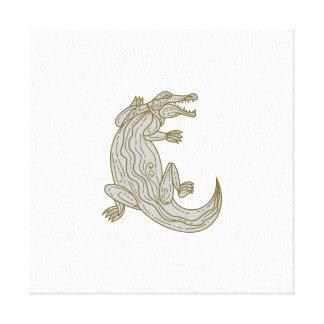 Alligator Climbing Up Mono Line Canvas Print