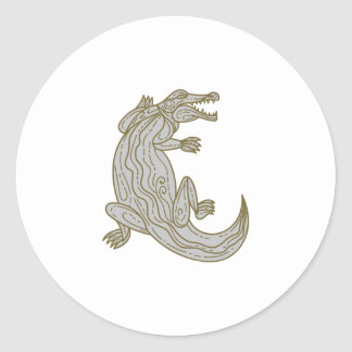 Alligator Climbing Up Mono Line Classic Round Sticker
