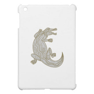Alligator Climbing Up Mono Line iPad Mini Cases