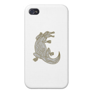 Alligator Climbing Up Mono Line iPhone 4 Case