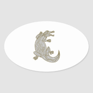 Alligator Climbing Up Mono Line Oval Sticker
