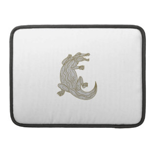 Alligator Climbing Up Mono Line Sleeve For MacBook Pro