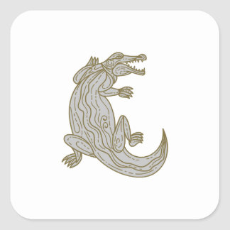 Alligator Climbing Up Mono Line Square Sticker