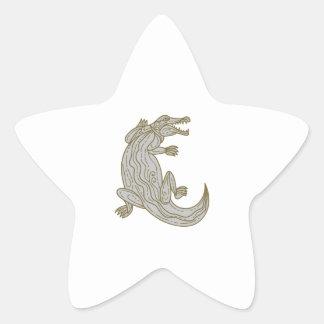 Alligator Climbing Up Mono Line Star Sticker