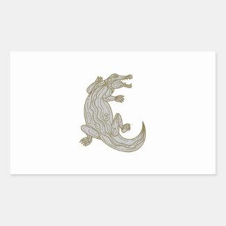 Alligator Climbing Up Mono Line Sticker