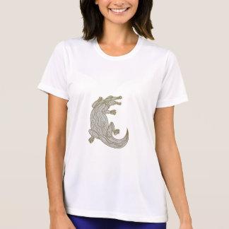 Alligator Climbing Up Mono Line T-Shirt