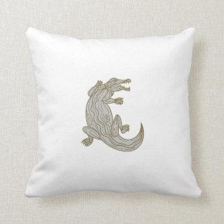 Alligator Climbing Up Mono Line Throw Pillow