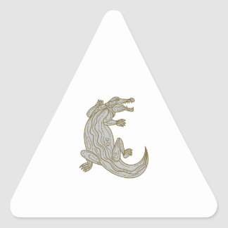 Alligator Climbing Up Mono Line Triangle Sticker