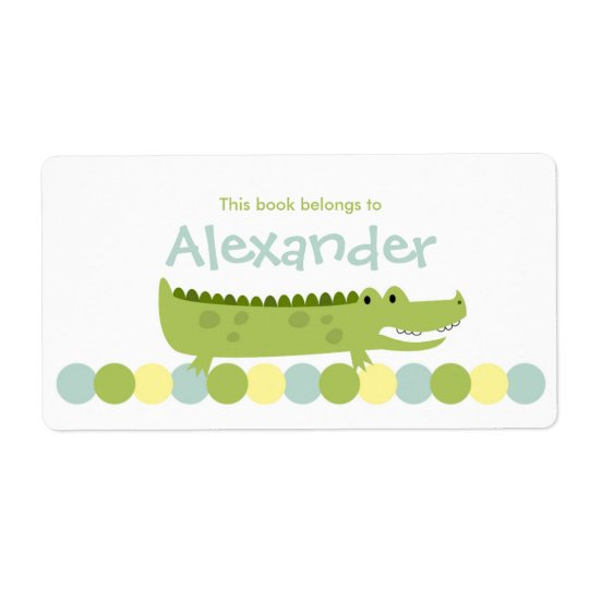 Alligator Crocodile Bookplate Label - Book Plate Shipping Label