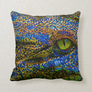 Alligator Crocodile Colourful Eye Editable! Throw Pillow