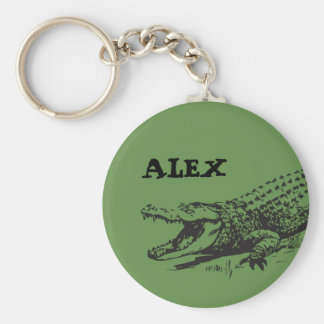 Alligator drawing with custom name keychain