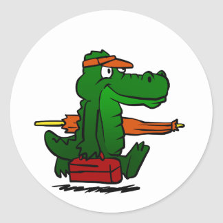 Alligator going to the beach classic round sticker