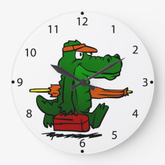 Alligator going to the beach large clock