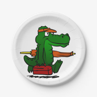 Alligator going to the beach paper plate
