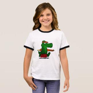 Alligator going to the beach ringer T-Shirt