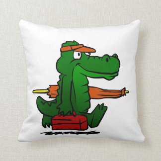 Alligator going to the beach throw pillow