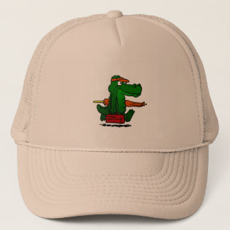 Alligator going to the beach trucker hat