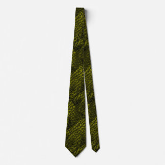 Alligator Gold Color Faux Leather•Double Sided Tie