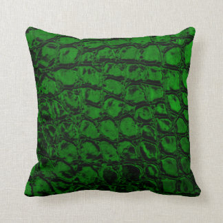 Alligator Green Faux Leather Throw Pillow