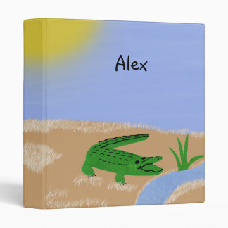 Alligator Green Whimsical Cartoon Art 3 Ring Binders