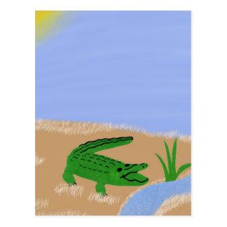 Alligator Green Whimsical Cartoon Art Postcard