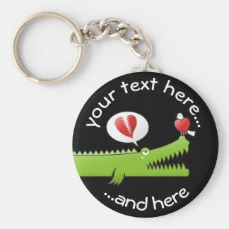Alligator in Love Basic Round Button Keychain
