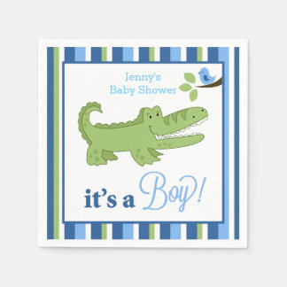 Alligator It's a Boy Custom Napkin Paper Napkins