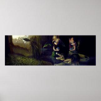 Alligator Magic ART PRINT fairy fantasy surrealism