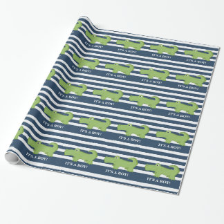 Alligator Navy and White Wrapping Paper