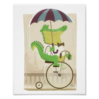 Alligator on Bicycle in Paris Poster