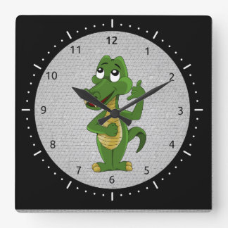 Alligator or crocodile cartoon clock