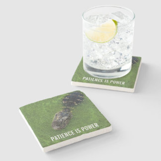 Alligator • Patience is Power • Florida Nature Stone Coaster
