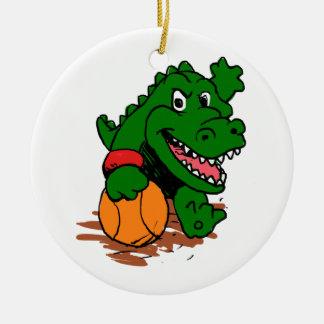 Alligator playing basketball ceramic ornament