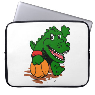 Alligator playing basketball laptop sleeve