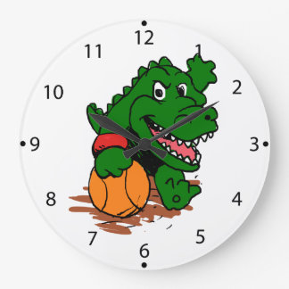 Alligator playing basketball large clock
