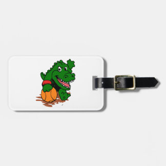 Alligator playing basketball luggage tag