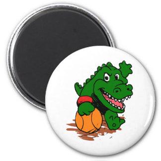 Alligator playing basketball magnet
