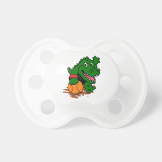 Alligator playing basketball pacifier