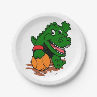 Alligator playing basketball paper plate