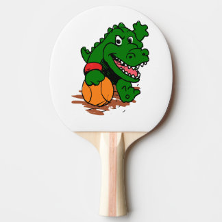 Alligator playing basketball ping pong paddle