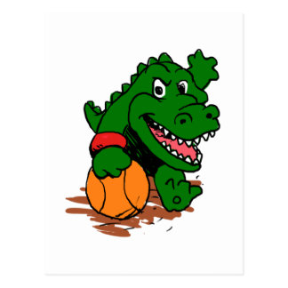 Alligator playing basketball postcard