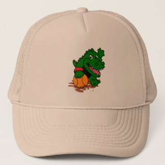 Alligator playing basketball trucker hat