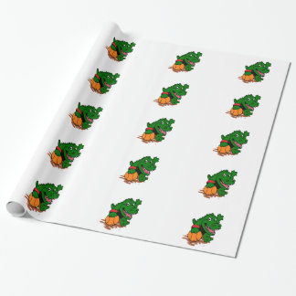 Alligator playing basketball wrapping paper