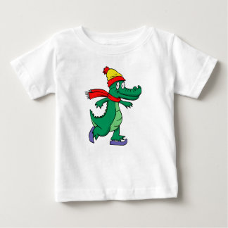 Alligator skating with hat and scarf baby T-Shirt