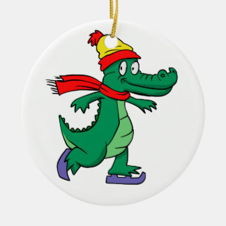 Alligator skating with hat and scarf ceramic ornament