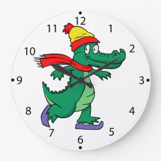 Alligator skating with hat and scarf large clock